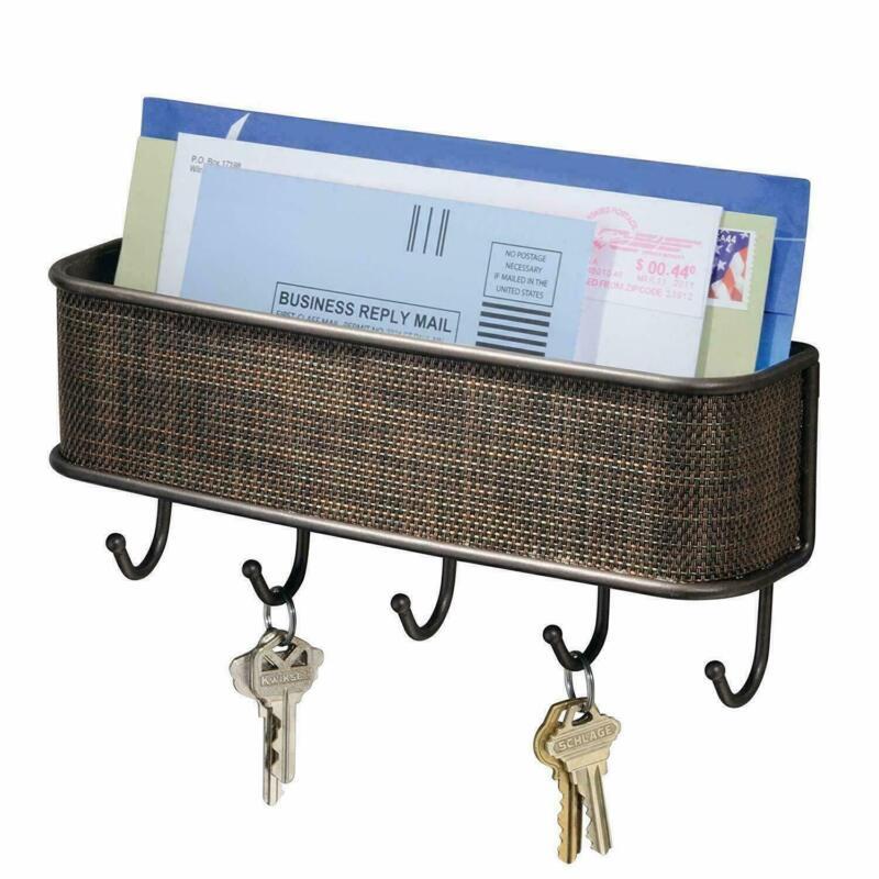 Key Holder Mail Rack Wall Mounted Letter Sorter Organizer with 5 Key/Bag Hooks