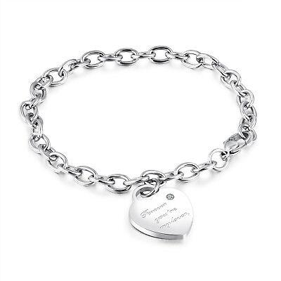 Edelstahl Damen Armband mit Herz Anhänger Bettelarmband Armkette Silber Gravur (Herz Mit Band)