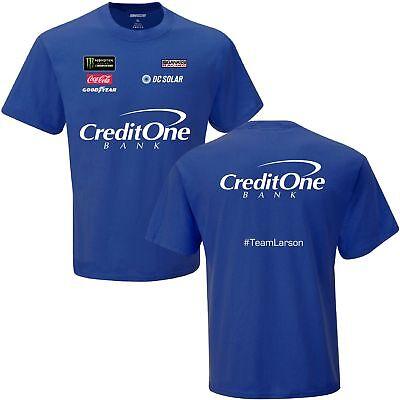 2018 Kyle Larson  42 Credit One Blue Uniform Nascar Short Sleeve Tee Shirt