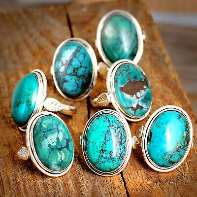Handmade Genuine Turquoise Ring Sterling Silver Women Boho Statement Size 7 8 9