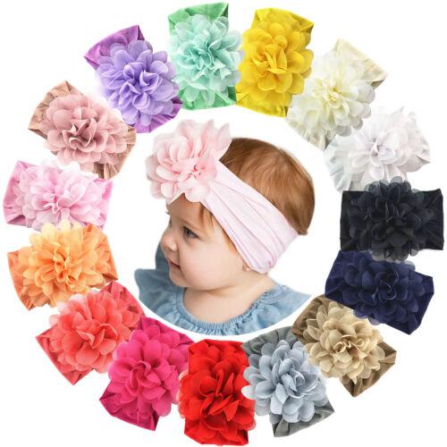 15pcs Baby Girls Nylon headbands 4.5in Chiffon Flower for infants Toddler Babies