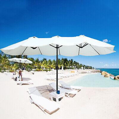 Lonabr 15ft Outdoor Patio Twin Umbrella Double Sided Market Crank Parasol Beach