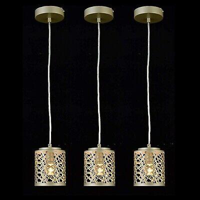 Vintage Metal Pendant Light Fixture Hanging Nickel Kitchen Island Grey Set Of