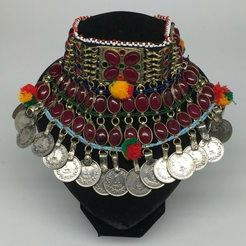 "11.5""x5.75""Kuchi Choker Multi-Color Tribal Gypsy Bohemian Statement Coins,CK586"