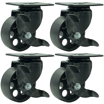 4 All Black Metal Swivel Plate Caster Wheels W Brake Heavy Duty 3 W Brake