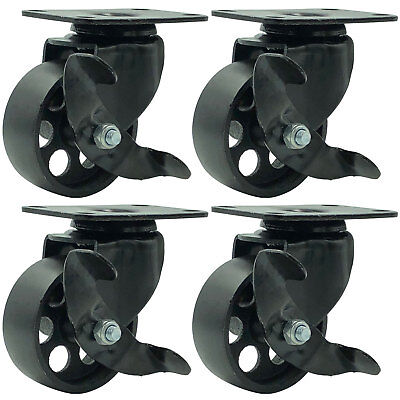 4 All Black Metal Swivel Plate Caster Wheels W Brake Heavy Duty 3 W Brake