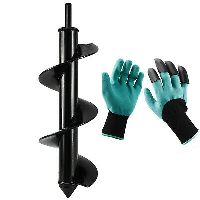 Garden Auger Drill Bit Earth Auger Bit With Gloves For Digging Plant 3x 10