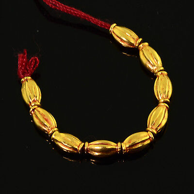 18k Solid Yellow Gold 3.2mmx6.1mm Barrel Spacer Findings Beads 2.1 inch strand