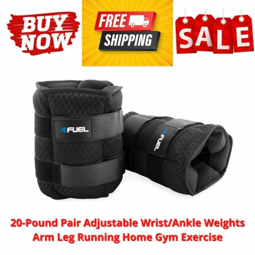 20-Pound Pair Adjustable Wrist/Ankle Weights Arm Leg Running Home Gym Exercise