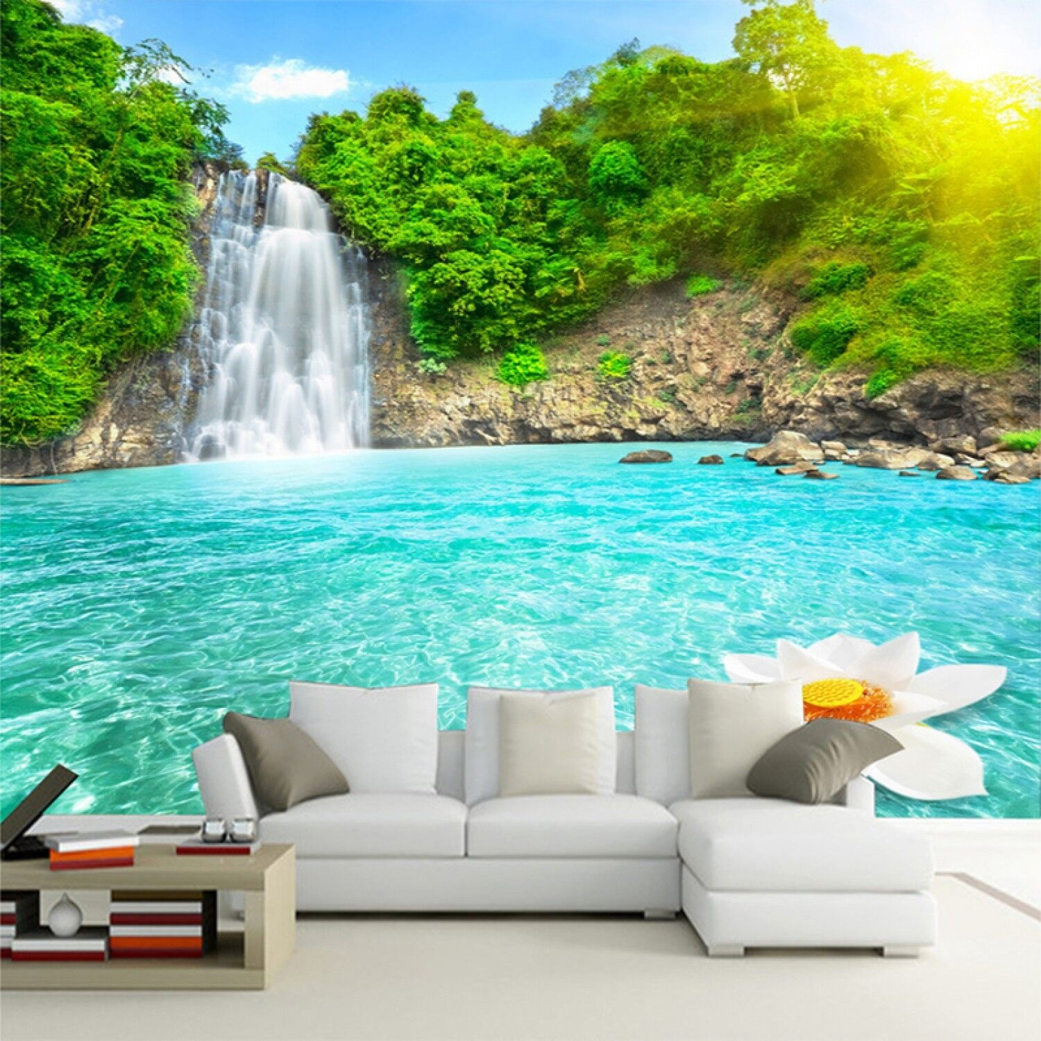 Natural Scenery 3D Wall Mural Forest Waterfalls Pools Photo