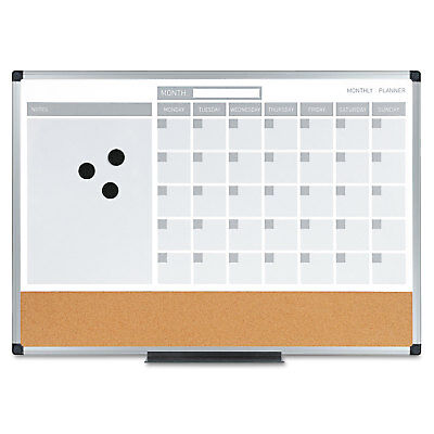 Mastervision 3-in-1 Calendar Planner Dry Erase Board 24 X 18 Aluminum Frame