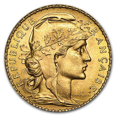 Random Year 0.1867 oz French 20 Franc Rooster Gold Coin AU