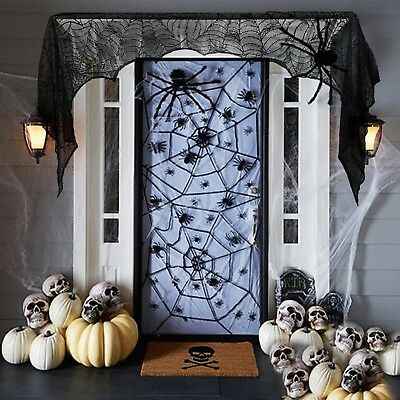 Halloween 2017 Props Party Scary Indoor Vintage Decorations Lace Spider Black  (Halloween Decorations 2017 Scary)