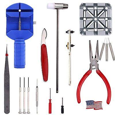 16 pcs Professional Watch Band Repair Tools Resizing Kits Case Opener Spring Set