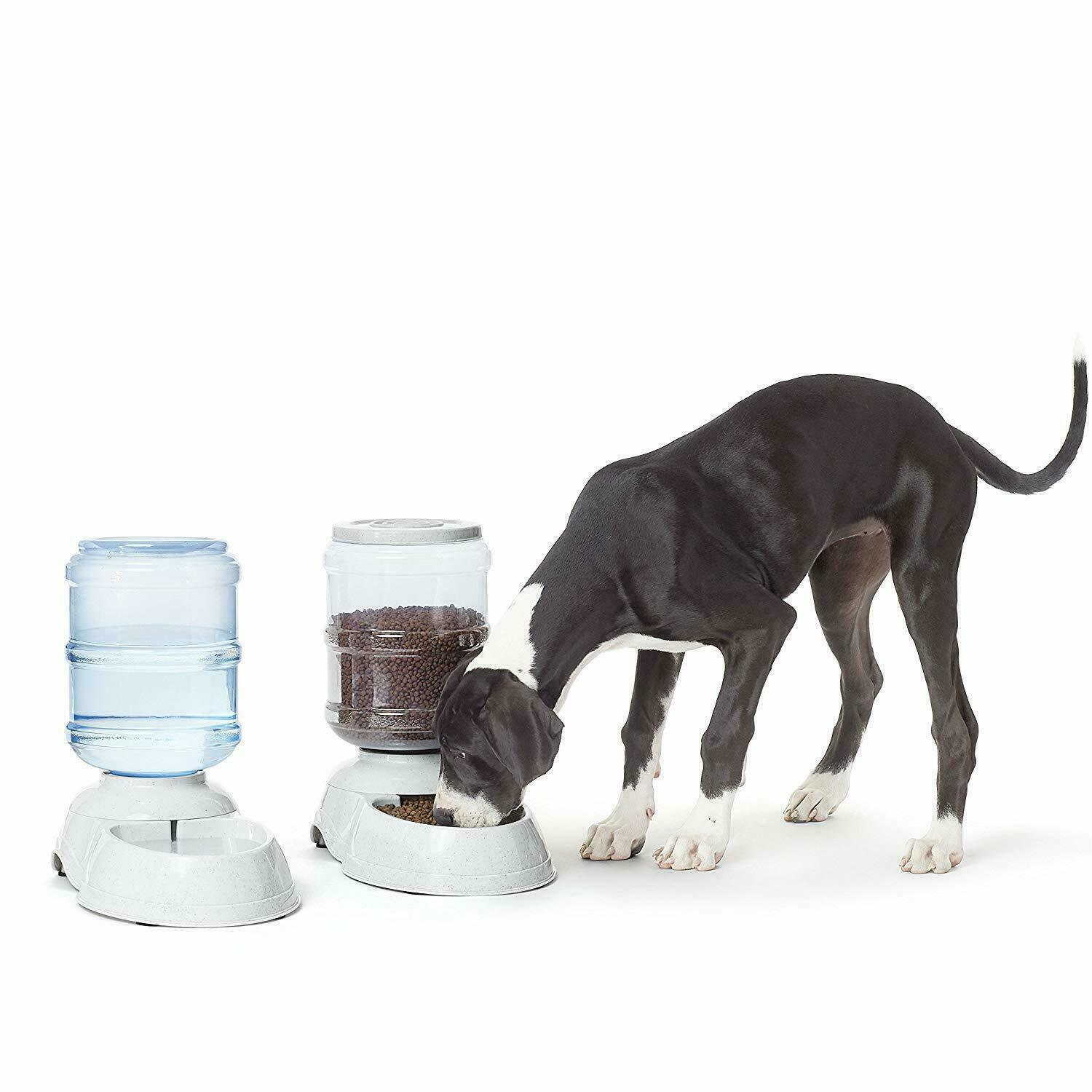 automatic pet food and water dispenser for large dogs cat dog combo set feeder