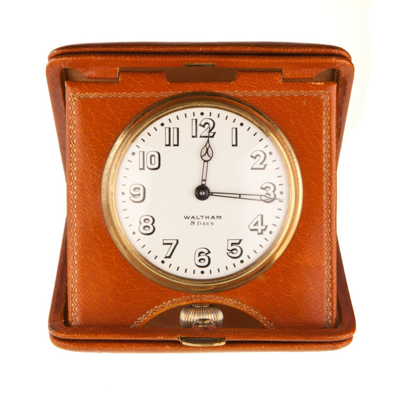 Waltham 8 Day Travel Watch Clock Leather Case 7 Jewel Grade Assorted