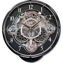 Round Black Analog Quartz Wall Clock Swarovski LED Light Pendulum Temp Humidity