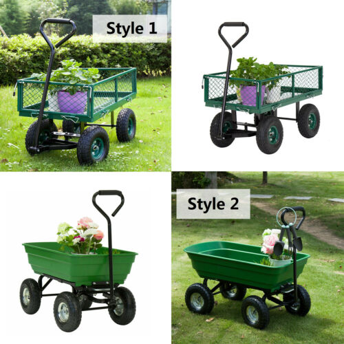 Outdoor Lawn Garden Cart Utility Pull Wagon Trailer Wheel Barrow Yard Tool NEW