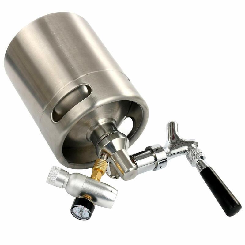 Steel Keg Beer System Homebrew Brew Kit w/ Dispenser,Mini CO2 Regulator 64 Ounce