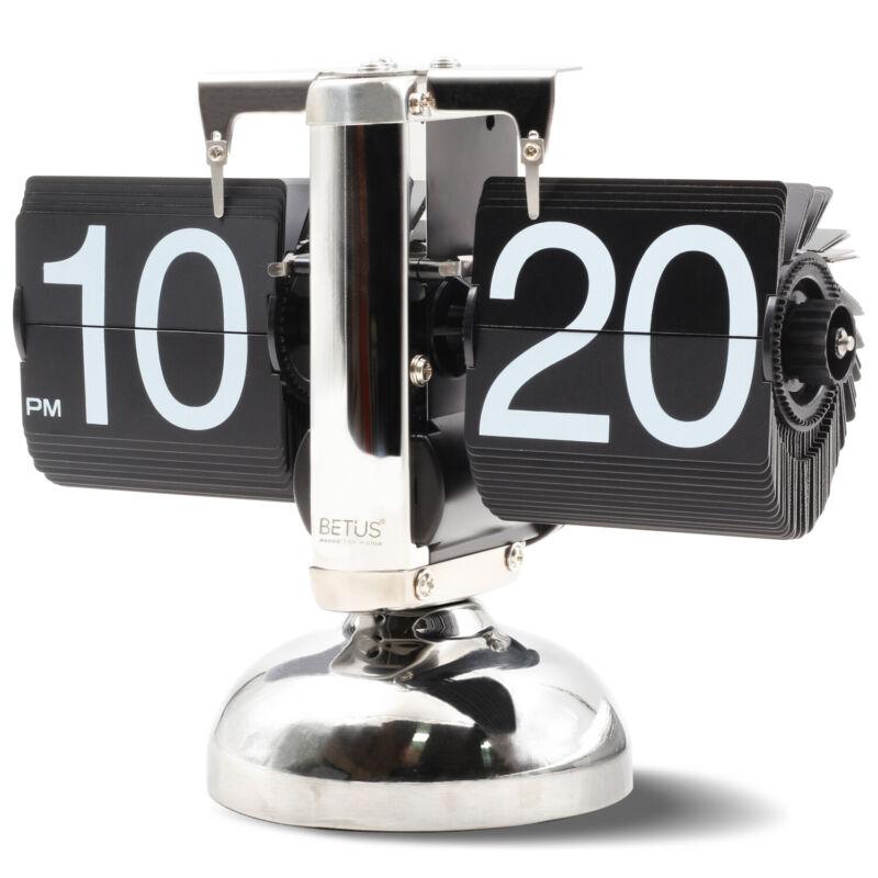 Betus Retro Style Flip Desk Shelf Clock - Classic Mechanical-Digital Display