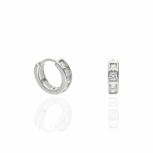 1.5Ct Created Diamond Princess Cut White Gold Over Silver Huggie Hoop Earrings