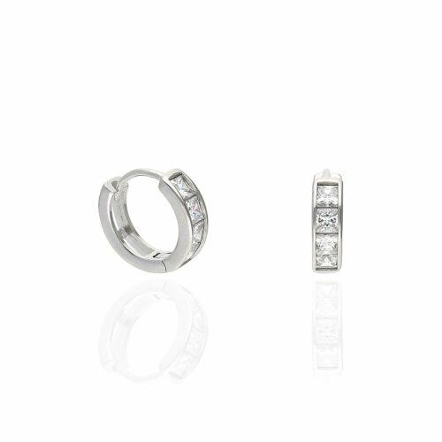 1.5Ct Created Diamond Princess Cut White Gold Over Silver Huggie Hoop Earrings