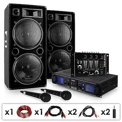Set Dj Casse PA Amplificatore Set Completo Professionale Mixer Microfono 2000W