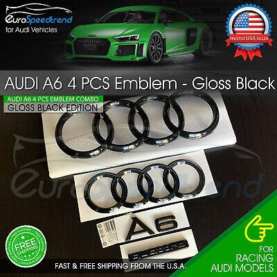 Audi A6 Front Rear Rings Emblem Gloss Black Trunk Logo Quattro Badge Set OE 4PC