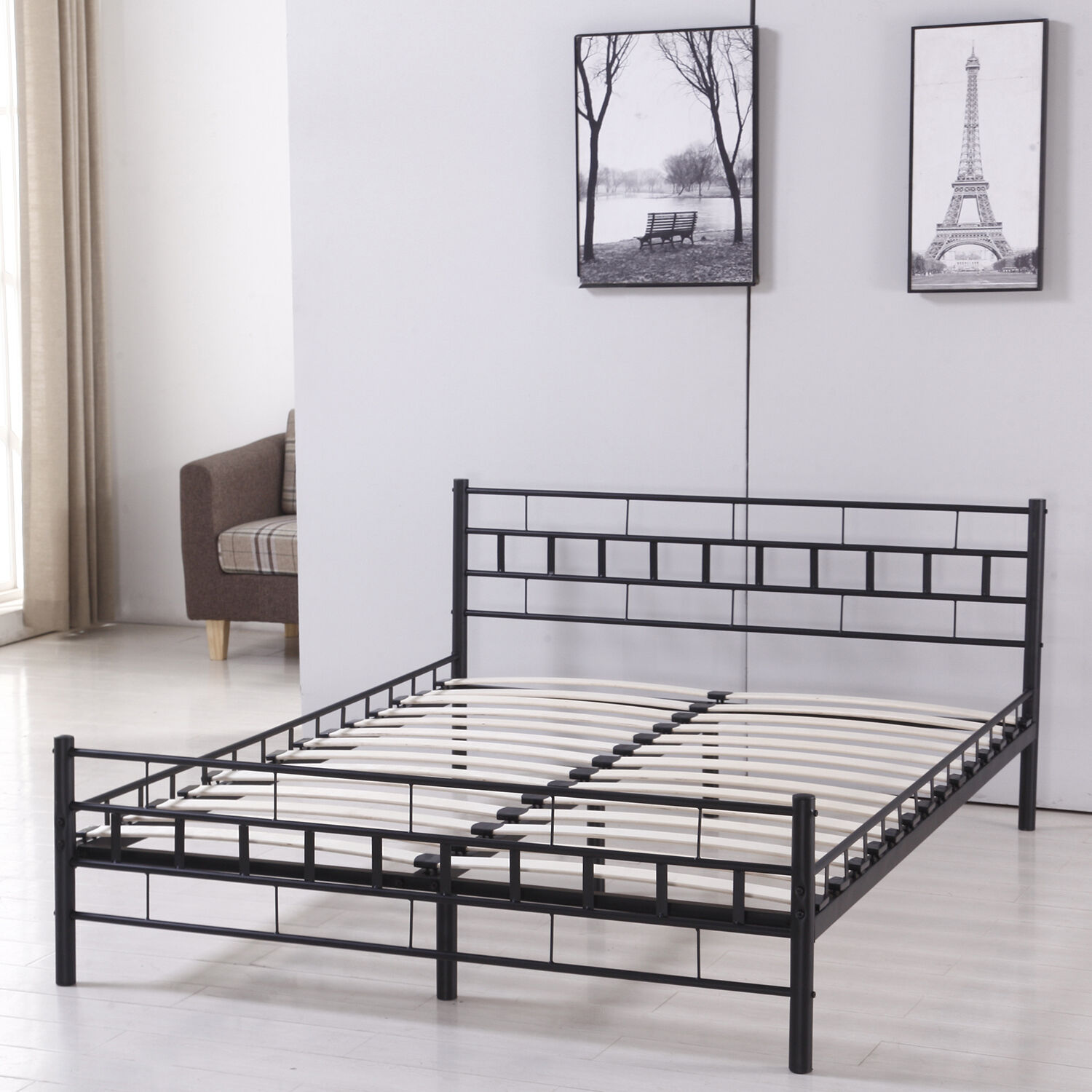 full slat size wood bed frame platform headboard footboard bedroom furniture new 814644023628 ebay. Black Bedroom Furniture Sets. Home Design Ideas