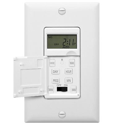 In Wall 7 Day Digital Programmable Timer Switch For Fans  Lights  Motors White