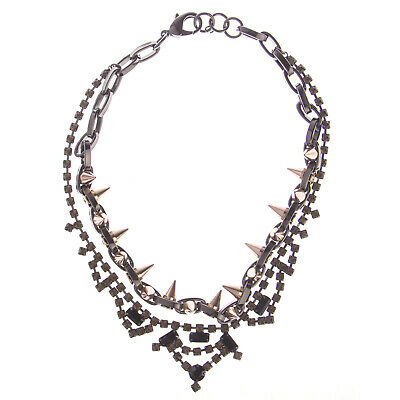 JOOMI LIM Baroque Punk Double Row Crystal Necklace w/ Spikes - Blk/Yllw