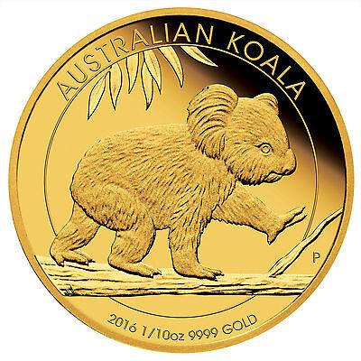Australia 2016 Proof Koala $15 1/10oz .9999 Pure Gold coin 1500 mintage with OGP