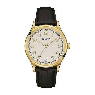 Bulova Men's 97B147 Classic Yellow Gold Quartz Genuine Black Leather Strap Watch