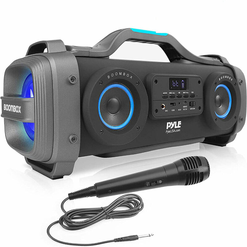 Pyle PBMSPG148 Bluetooth Boombox Karaoke Speaker System with DJ Party Lights