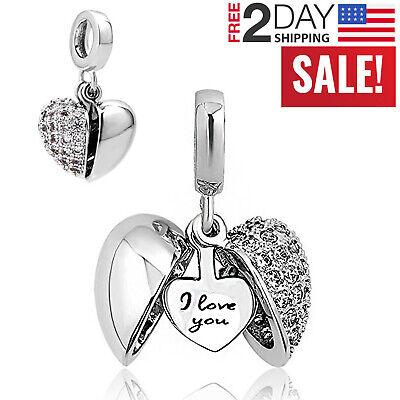 Pandora Charms Bracelet I Love You Heart Bead Women Valentine's Gift