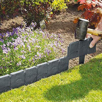 50 Pack Grey Cobbled Stone Effect Plastic Garden Lawn Edging Plant Border