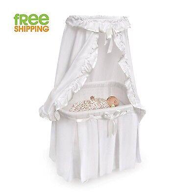 Baby Bassinet Metal Frame Wheels Nursery Furniture Ruffled Canopy White New!