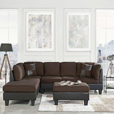 Modern Sofa Brown Microfiber/Faux Leather 3-Piece Sectional Sofa Set Ottoman