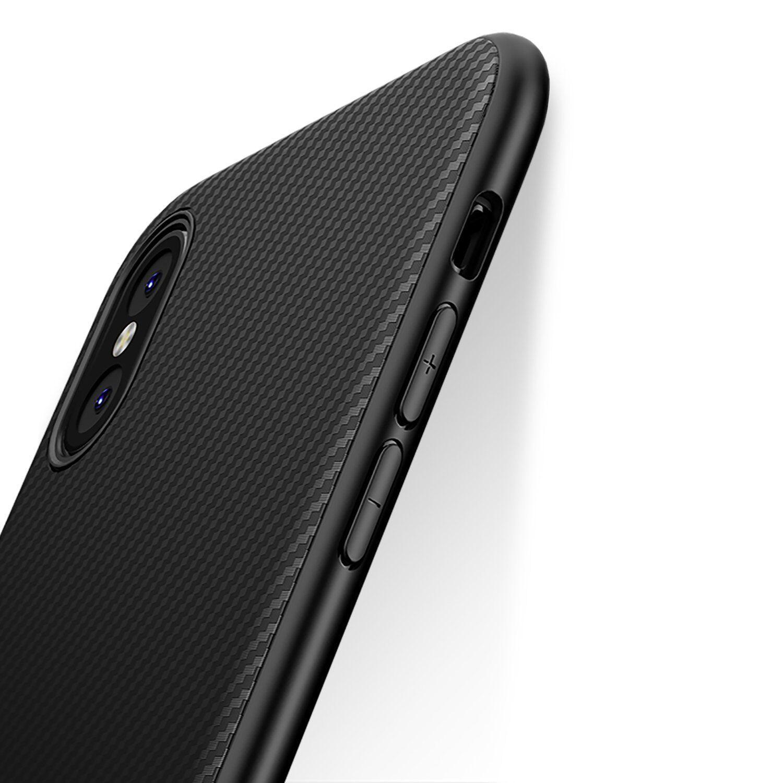Coque Etui Housse Silicone Mat Case Texture Fibre Carbone iPhone 6 6S 7 Plus 8 X