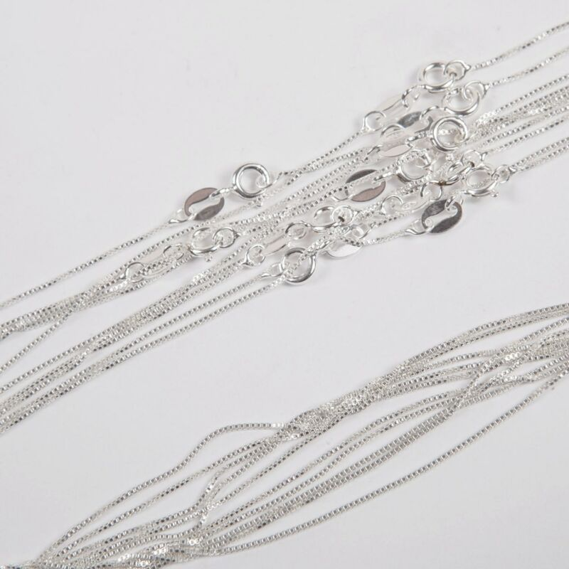 "5 pieces Sterling Silver 925 0.8mm Fine BOX 012 Chain Necklaces Lot 20"" 50cm"
