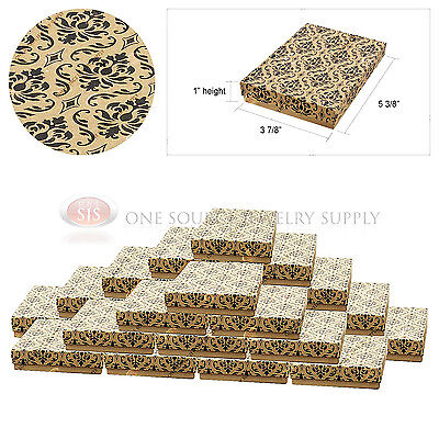 25 Kraft Damask Print Gift Jewelry Cotton Filled Boxes 5 38 X 3 78 X 1