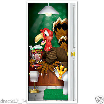 1 Fall THANKSGIVING Party Decoration Prop BATHROOM Restroom TURKEY DOOR COVER