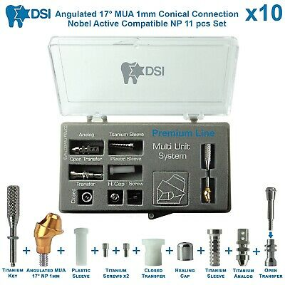 10 Dsi Dental Implant Angulated Multi Unit Set Np Nobel Active Conical 17 1m