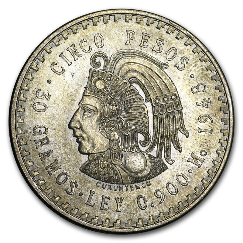 1947-1948 Mexico Silver 5 Pesos Cuauhtemoc BU (ASW .8681 oz) - SKU#175664
