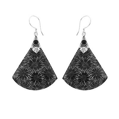 BLACK FOSSIL CORAL Fan Shaped Earrings in 925 Sterling Silver - 5.2 cm # N53