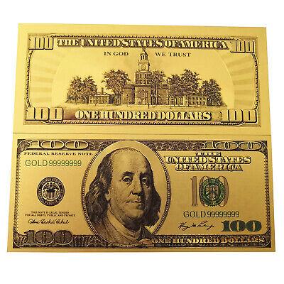 1Pcs Gold Foil USA Banknote $100 Dollar Bills Bank Note Paper Money OLD Version