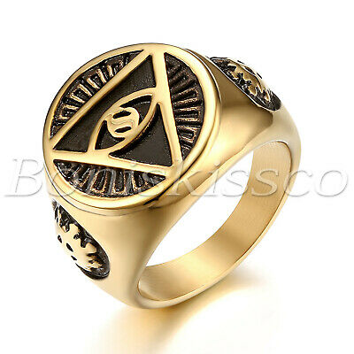 Mens Gold Tone Stainless Steel Illuminati All-Seeing-Eye Pyramid Band Ring #7-13