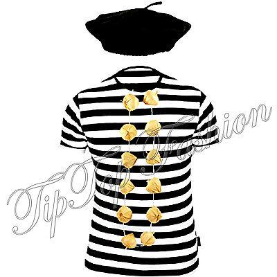 New Kinder Französisch T-Shirt,Baskenmütze & Garlic Girlande Kostüm - Französische Kostüm Kinder