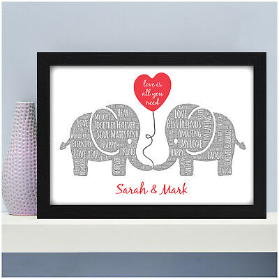 Personalised Elephant Couples Gifts for Her Husband Wife Wedding Anniversary ()