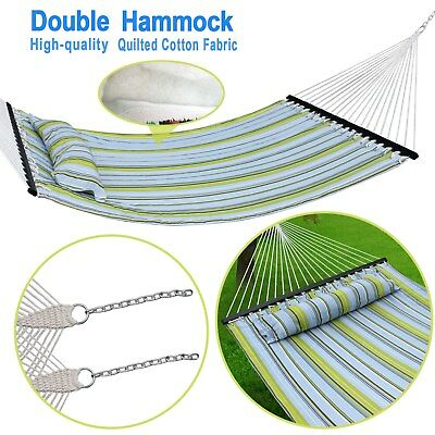 Hammock Quilted Fabric With Pillow Double Size Spreader Bar Heavy Duty Stylish for sale  Fontana